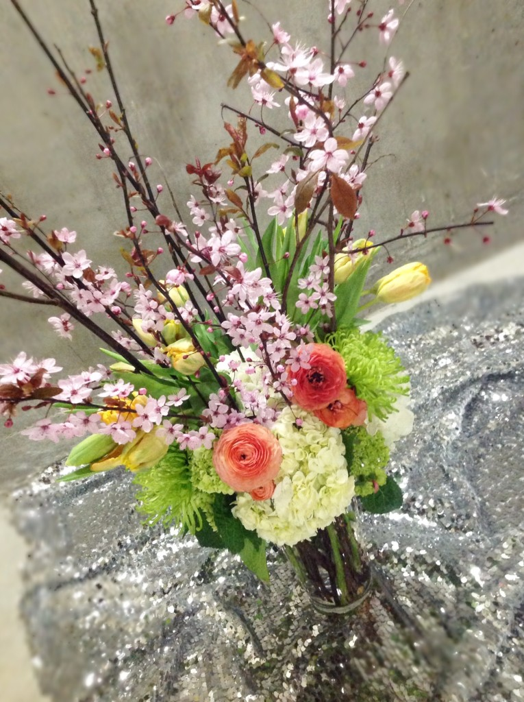 Beautiful Fl Arrangement Made With Tulips Cherry Blossoms Hydrangeas And Ranunculus
